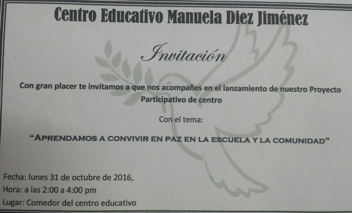 Centro Manuela Diez Jiménez lanza proyecto.