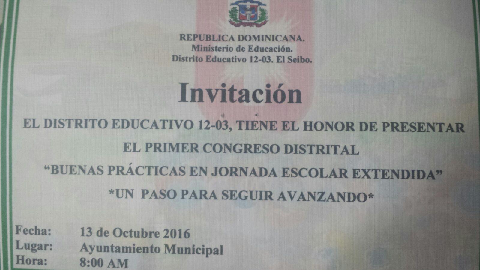Distrito Escolar 12-03  realizará congreso de Jornada Escolar Extendida.