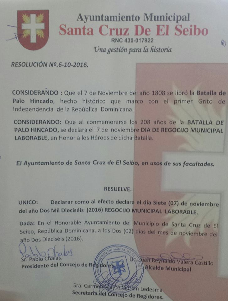 El Ayuntamiento de El Seibo invalida  Día de Regocijo municipal no laborable.