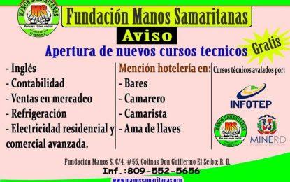 Manos samaritanas abre convocatoria para nuevos cursos para jóvenes seibanos.