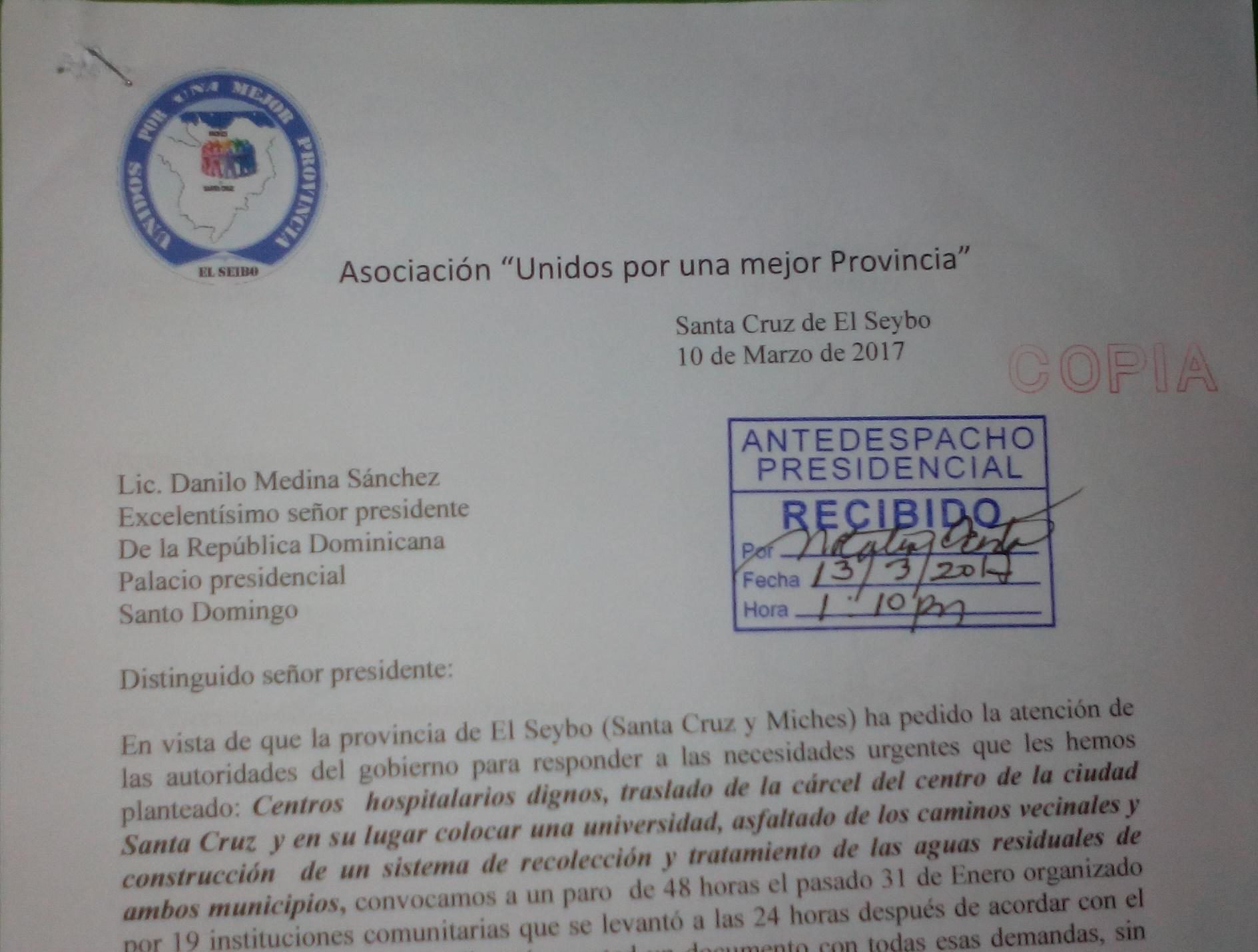 Gobernador entrega carta a la Presidencia de la Republica
