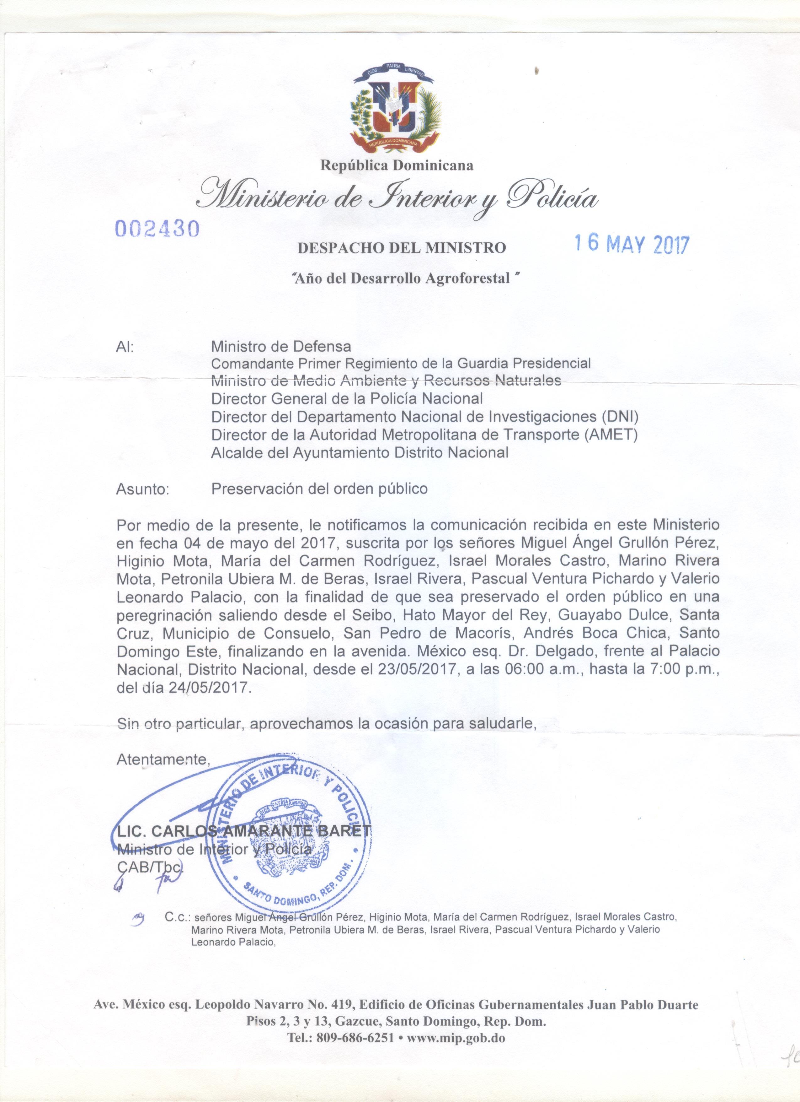 Permiso para transitar por la vía publica rumbo al Palacio Nacional en la lucha por una mejor provincia El Seibo.